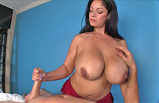 Cumshot on bondaged titties 2